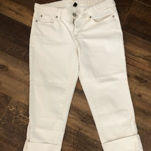White crop straight jeans